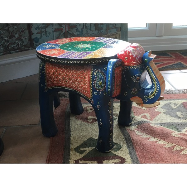 Painted Elephant Wooden Side Table