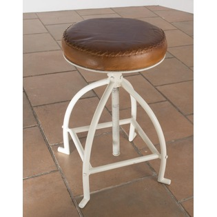 Iron and Leather Stool