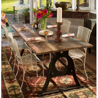 Iron Dining Table with Reclaimed  Wood