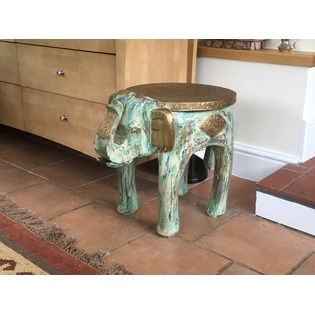 Elephant Side Table - Wooden with Brass Top