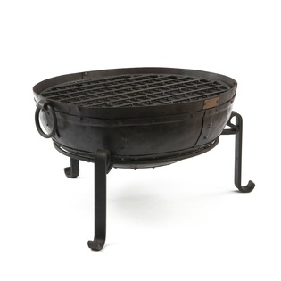 Recycled Fire Bowl with low stand and grill