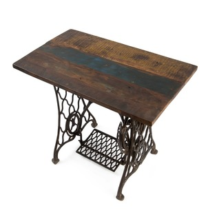 Iron Singer Table with Reclaimed Wood Top