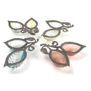 Vintage Glass and Metal  Leaf Dish