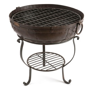 Recycled Fire Bowl including Low stand, High Stand with Shelf and Grill