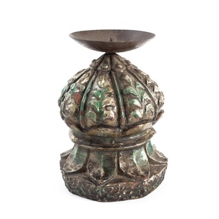 Wooden Painted Carved Candle Holder