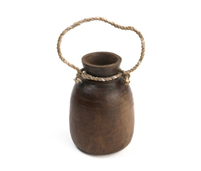Wooden Pot with Rope Handle